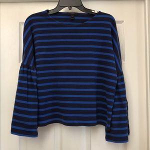 Beautiful Blue stripe top w/ bell sleeve by J.Crew